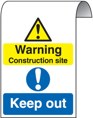 500 x 300 mm warning construction site keep 2 mm dibond brushed steel effect sign.