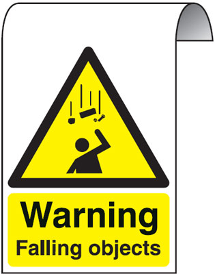 500 x 300 mm warning falling objects 2 mm dibond brushed steel effect sign.