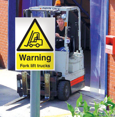 400 x 300 mm warning fork lift trucks post mounted aluminium 3 mm