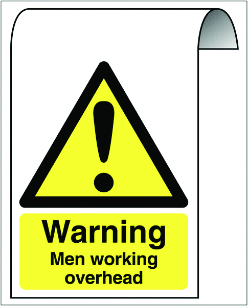 500 x 300 mm warning men working overhead 2 mm dibond brushed steel effect sign.