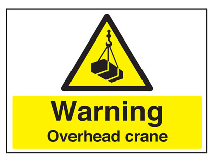 450 x 600 mm warning overhead crane 2 mm plastic foamex