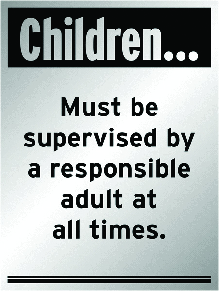 400 x 300 mm children must be supervised by a