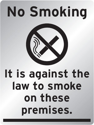 A4 no smoking it is against the law to