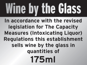 150 x 200 mm wine by the glass 175ml