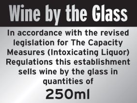 150 x 200 mm wine by the glass 250ml