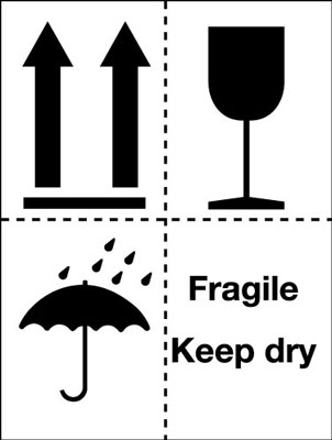 100 x 75 mm fragile keep dry (pictorial)