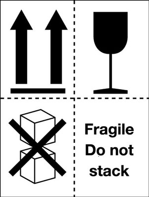 100 x 75 mm fragile do not stack (pictorial)