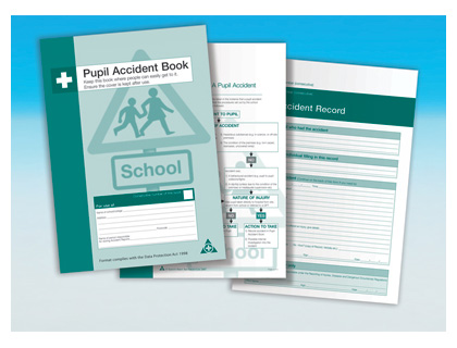 pupil accident book with holder