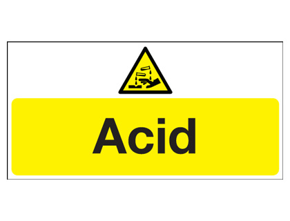 UK hazard signs - 300 x 600 mm acid 1.2 mm rigid plastic signs with self adhesive backing.