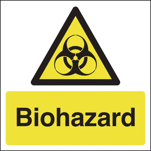 UK hazard signs - 125 x 125 mm biohazard 1.2 mm rigid plastic signs with self adhesive backing.