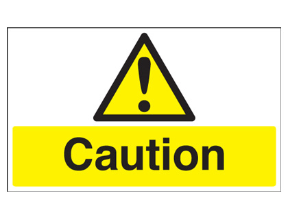 UK hazard signs - 100 x 250 mm caution self adhesive vinyl labels.