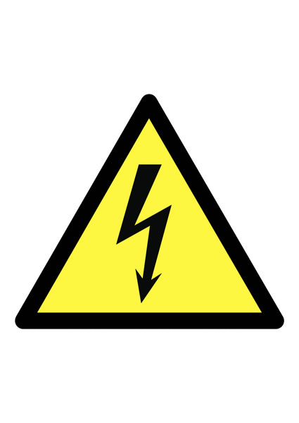A5 caution (electric symbol) face adhesive vinyl