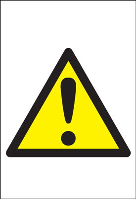 UK hazard signs - A5 caution SYMBOLS 1.2 mm rigid plastic signs with self adhesive backing.