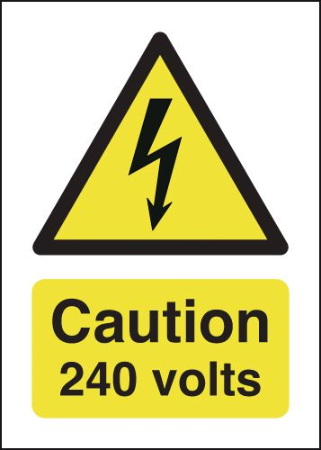 UK hazard signs - 70 x 50 caution 240 volts self adhesive vinyl labels.
