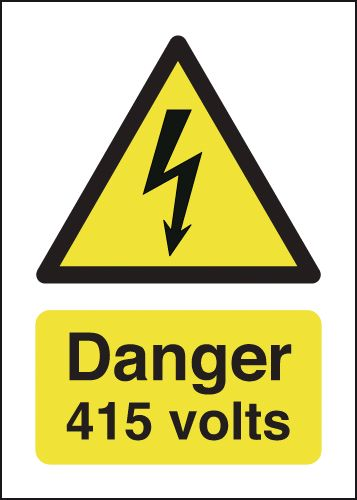 UK hazard signs - 70 x 50 caution 415 volts self adhesive vinyl labels.