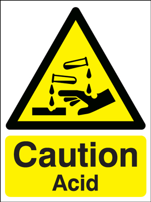 400 x 300 mm caution acid 1.2 mm rigid plastic signs with self adhesive backing.
