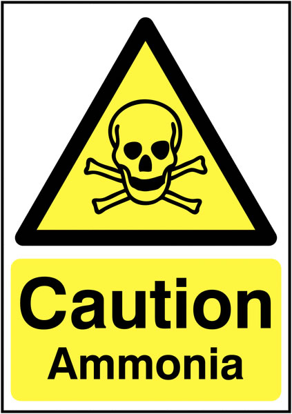UK hazard signs - A5 caution ammonia self adhesive vinyl labels.