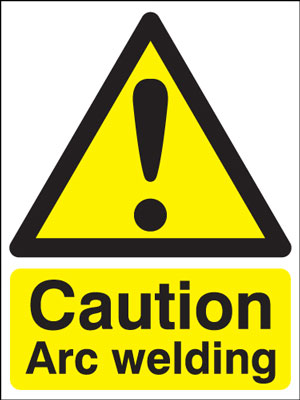 400 x 300 mm caution arc welding 1.2 mm rigid plastic signs with self adhesive backing.