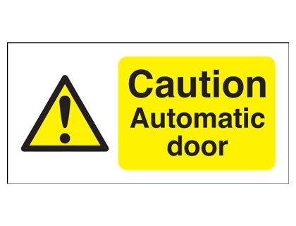 50 x 250 mm caution automatic door self adhesive vinyl labels.