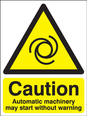400 x 300 mm caution automatic machinery May self adhesive vinyl labels.