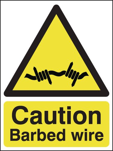 UK hazard signs - 400 x 300 mm caution barbed wire self adhesive vinyl labels.