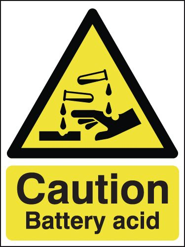 UK hazard signs - 400 x 300 mm caution battery acid self adhesive vinyl labels.