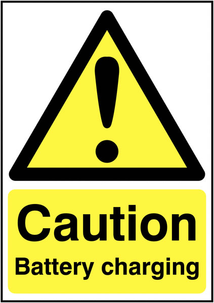 UK hazard signs - A5 caution battery charging self adhesive vinyl labels.