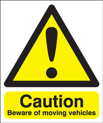 400 x 300 mm caution beware of moving vehicle self adhesive vinyl labels.