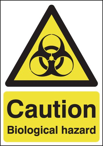 150 x 125 mm caution biological hazard self adhesive vinyl labels.