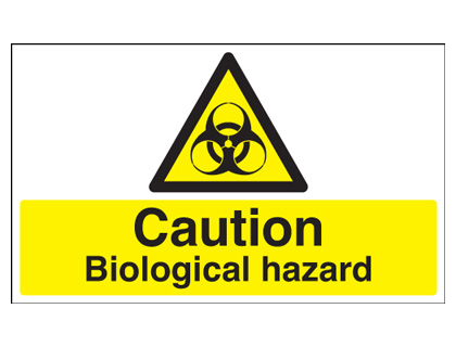 300 x 500 mm caution biological hazard self adhesive vinyl labels.