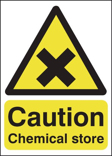 UK hazard signs - 250 x 200 mm caution chemical store self adhesive vinyl labels.