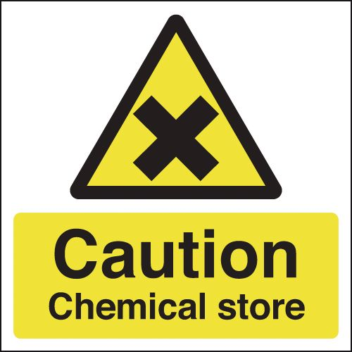 UK hazard signs - 125 x 125 mm caution chemical store self adhesive vinyl labels.