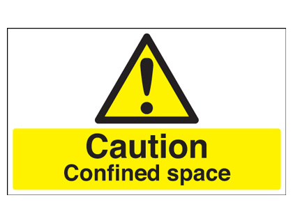 150 x 200 mm caution confined space self adhesive vinyl labels.