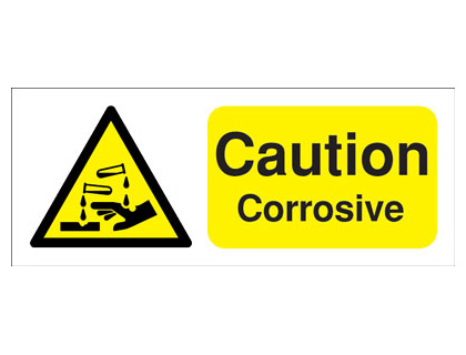 100 x 250 mm caution corrosive self adhesive label.