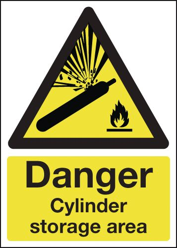 UK hazard signs - 175 x 125 mm caution cylinder storage area 1.2 mm rigid plastic signs with self adhesive backing.