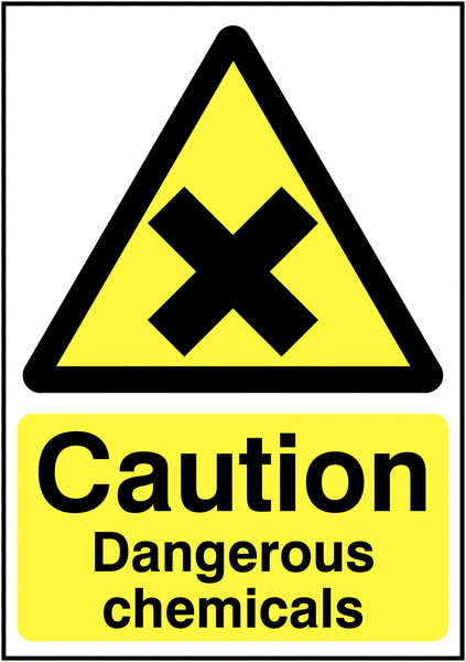 UK hazard signs - 250 x 200 mm caution dangerous chemicals 1.2 mm rigid plastic signs with self adhesive backing.