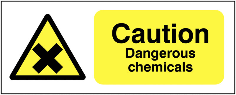 100 x 250 mm Caution Dangerous Chemicals Safety Signs