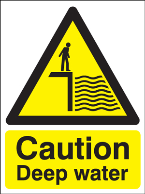 400 x 300 mm caution deep water self adhesive vinyl labels.