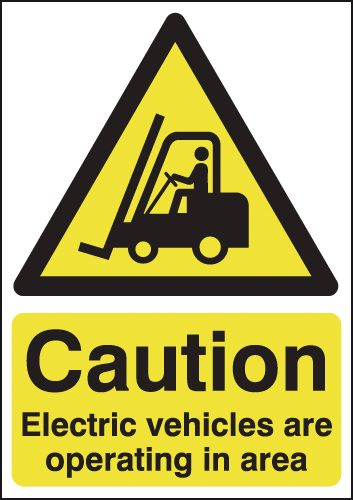 UK hazard signs - 400 x 300 mm caution electric vehicles are self adhesive vinyl labels.