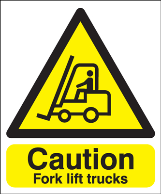 UK fork lift signs - 150 x 125 mm caution fork lift trucks 1.2 mm rigid plastic signs.