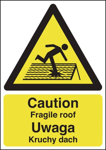 UK fragile roof labels - 400 x 300 mm caution fragile roof (polish) self adhesive vinyl labels.