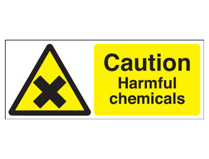 100 x 250 mm caution harmful chemicals self adhesive vinyl labels.