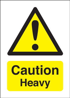 70 x 50 caution heavy 1.2 mm rigid plastic signs with self adhesive backing.