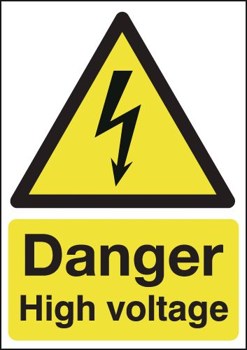 70 x 50 danger high voltage self adhesive vinyl labels.
