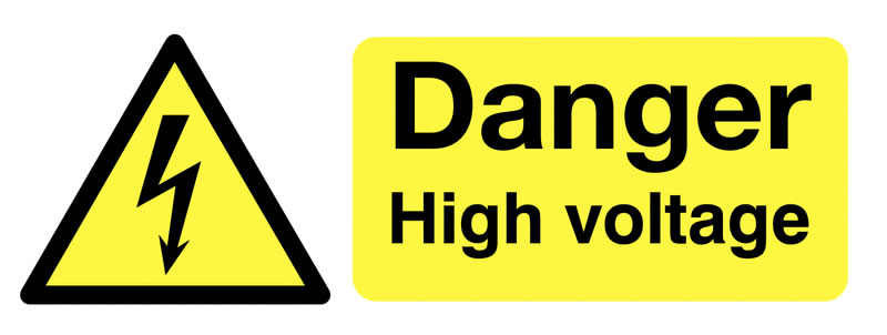 100 x 250 mm danger high voltage face self adhesive vinyl