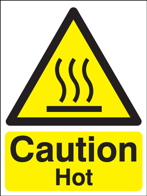 400 x 300 mm caution hot self adhesive vinyl labels.