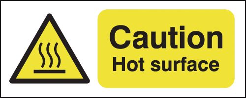 UK hazard signs - 100 x 250 mm caution hot surface self adhesive vinyl labels.