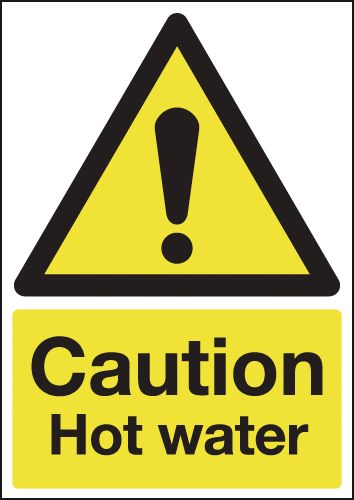 UK water signs - A5 caution hot water 1.2 mm rigid plastic signs.