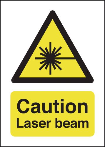 UK hazard signs - 70 x 50 caution laser beam 1.2 mm rigid plastic signs with self adhesive backing.