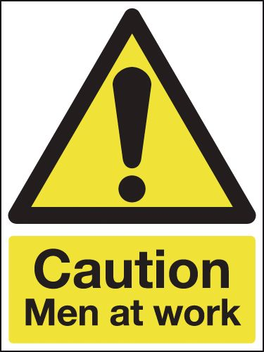 400 x 300 mm caution men at work rigid reflective